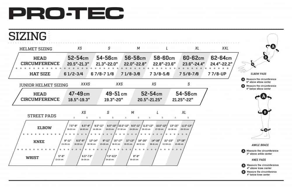 Pro-Tec Sizechart Water Sports Helemts