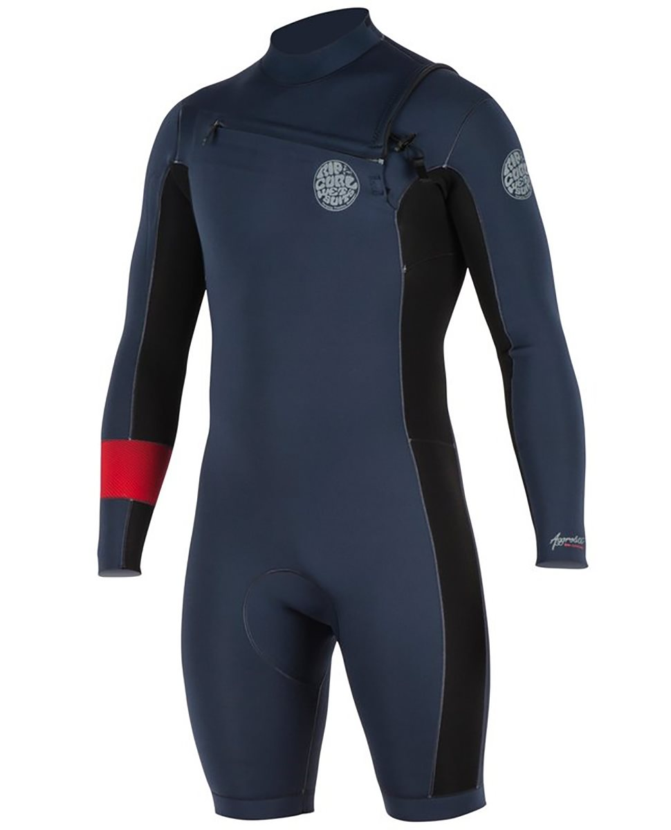 5f3ab6be46 Rip Curl Aggrolite Longsleeve Shorty Wetsuit 2mm Front-Zip Red Men 2018  Front View