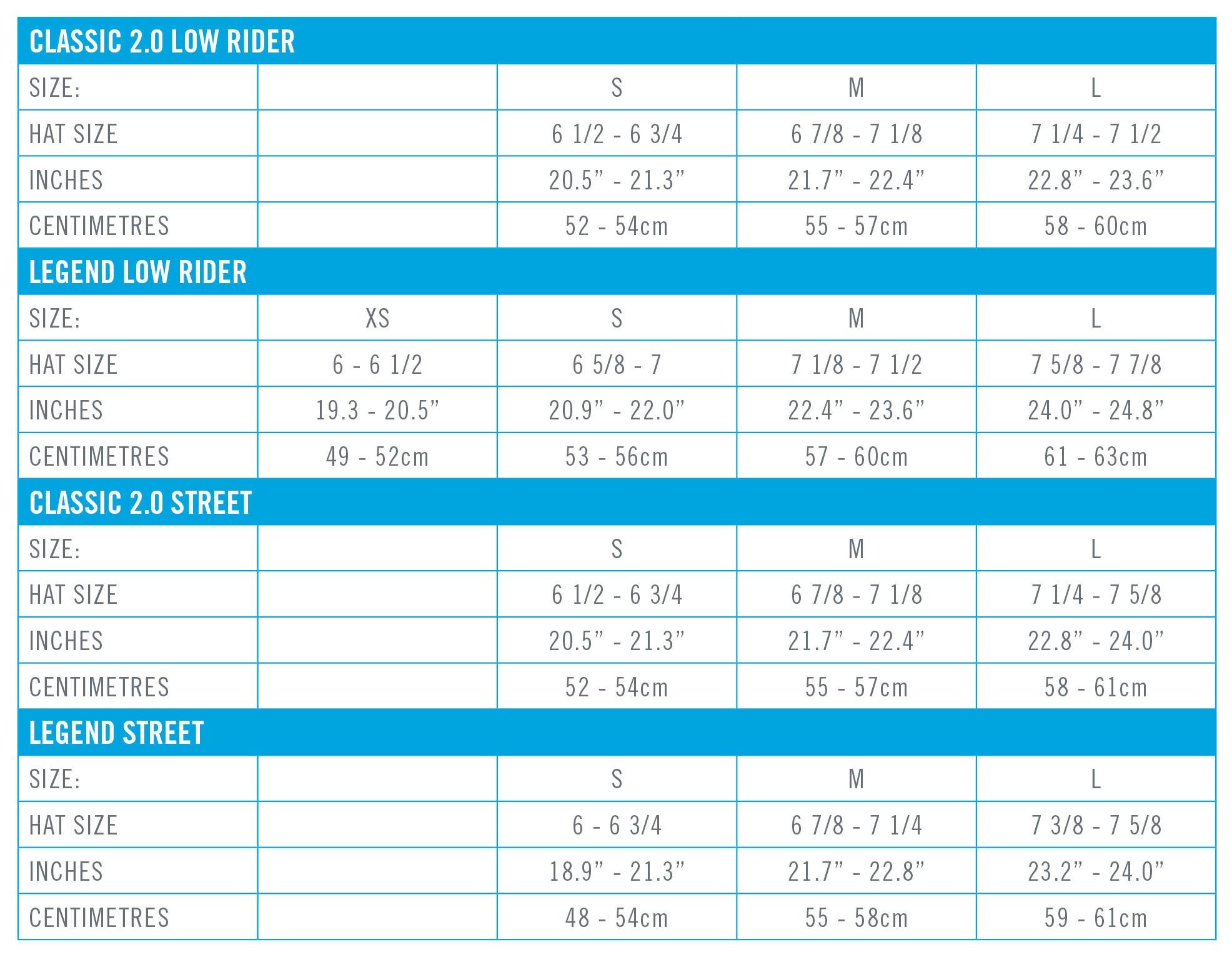 Sandbox Helmet Size Chart